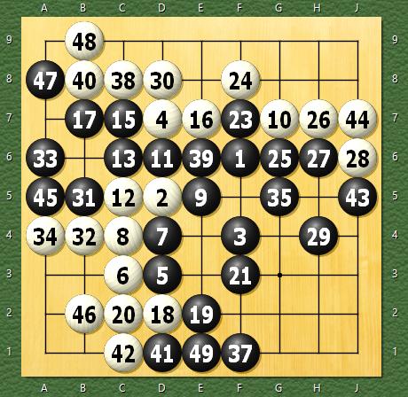天頂の囲碁4 30秒モード 九路盤定先1目勝ち