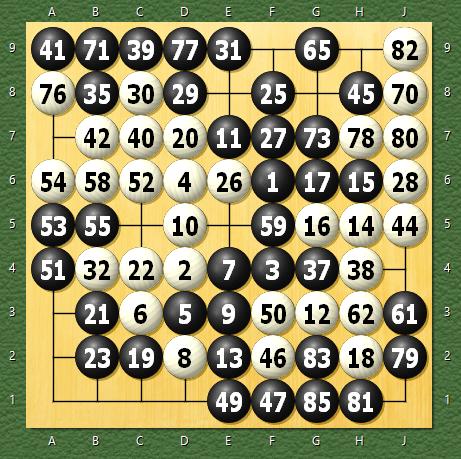 天頂の囲碁4 九路盤定先 白全滅